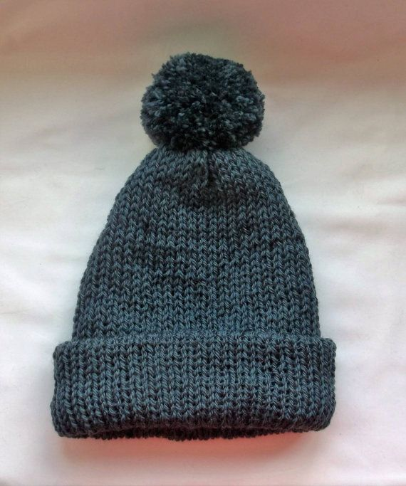 Men's knit hat, Slate grey knitted hat, Man's head wear, Hand made wool hat, Christmas Gifts for men, Thick winter hat, Bobble hats,