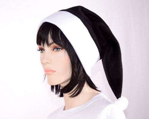Black Santa hat with white headband and pompom. Black toboggan style stocking cap hat with white brim and large hand tied pompom. Made from heavy fleece. Perfect for winter wear. Dark Elf,   This hat