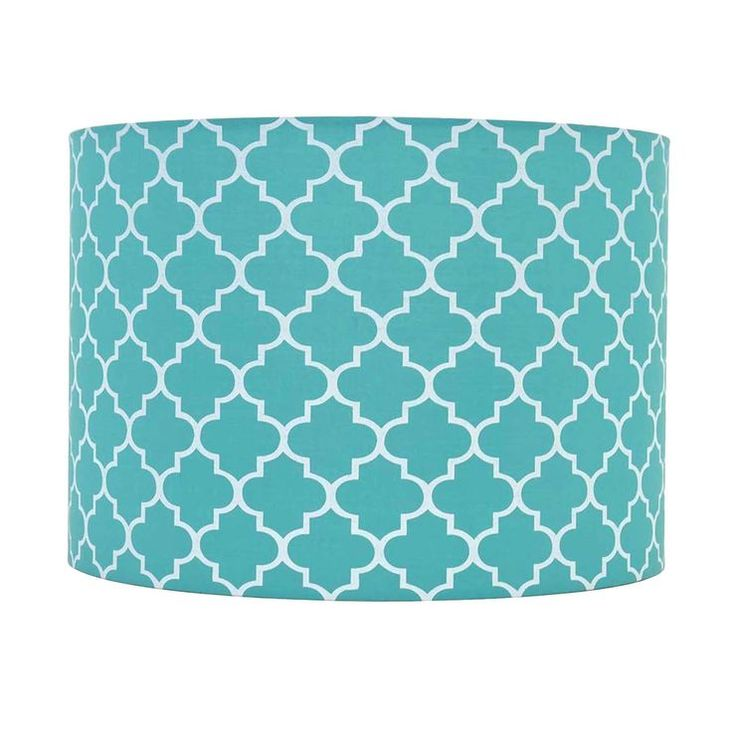Teal and White Quatrefoil Lamp Shade