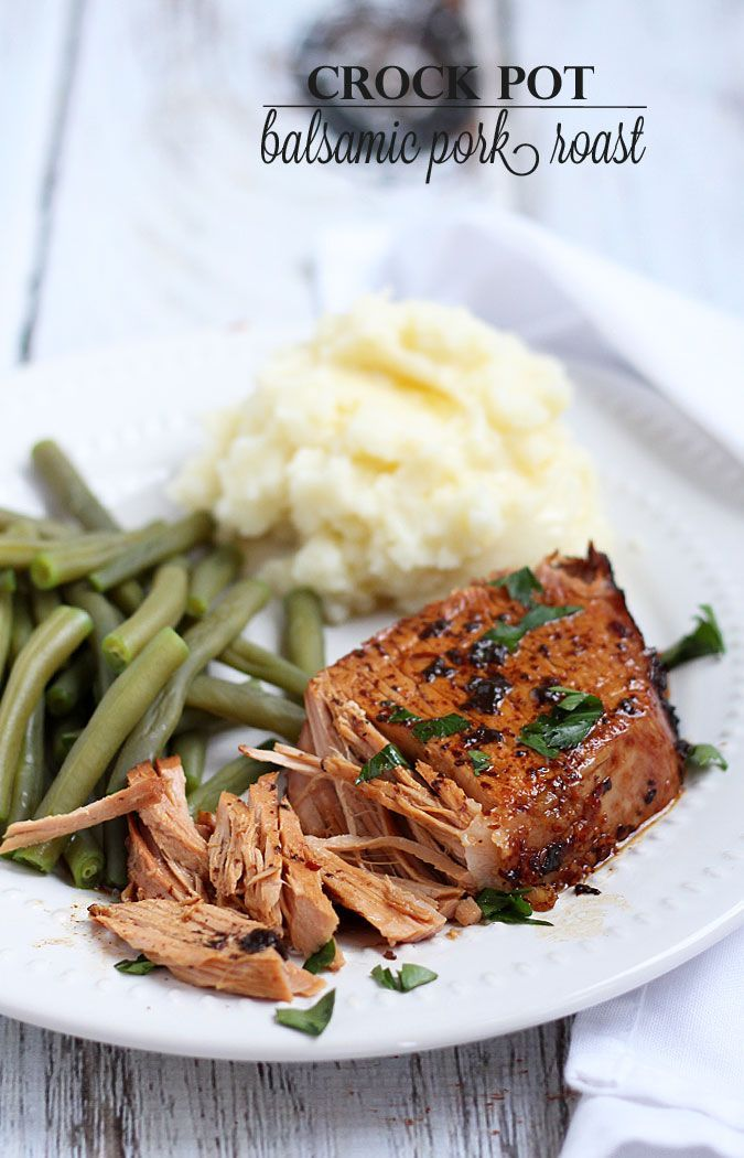 Crock Pot Balsamic Pork Roast - Just 5 minutes prep time is all it takes for this tender, juicy roast!