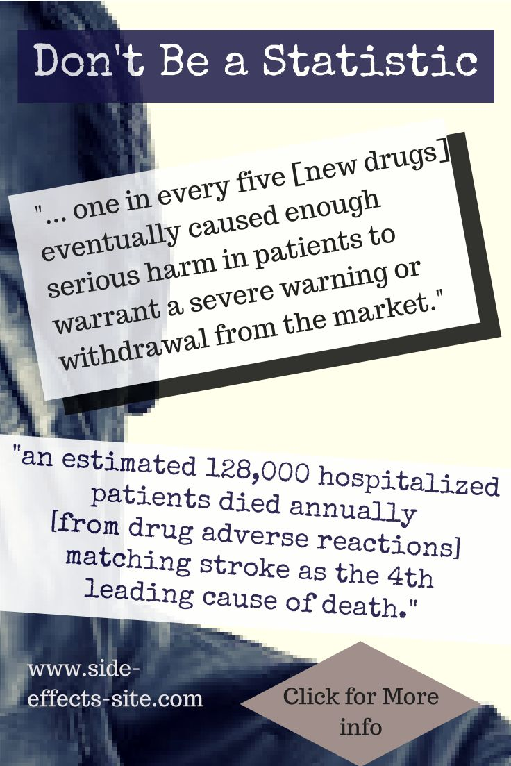Wow, pharmaceutical drugs are extraordinarily dangerous. As many die from drug side effects every year as die from stroke. Drug deaths are an epidemic! Find out more at:  http://www.side-effects-site.com/