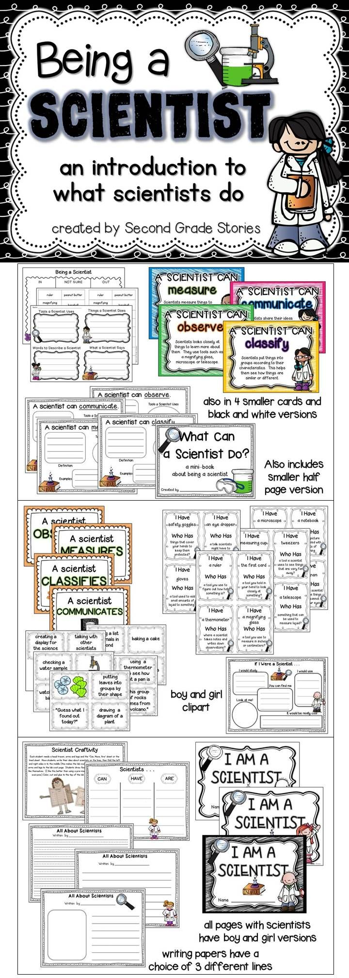 A great back to school activity to help students learn how to be a scientist and what a scientist does. Games, activities, science centers, printables and a writing craft all about being a scientist.