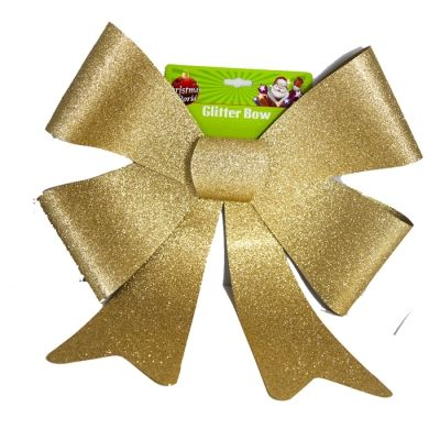 LARGE GLITTER BOW GOLD