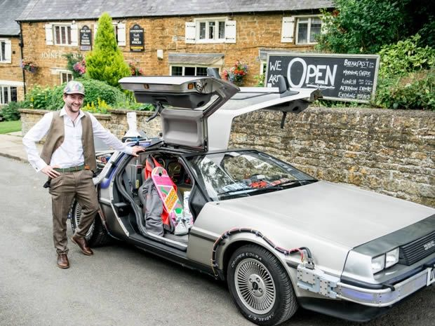 If you are film-mad and love #BackToTheFuture you might want to consider a DeLorean for your wedding transport! Image © The Wedding Cut