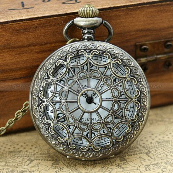 Vintage pocket watch locket necklace with antique bronze heart zodiac pendant and leaf charm