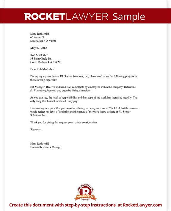 Salary increase letter asking for a raise rocket lawyer Rocket Lawyer #SampleResume #SalaryIncreaseLetterTemplate