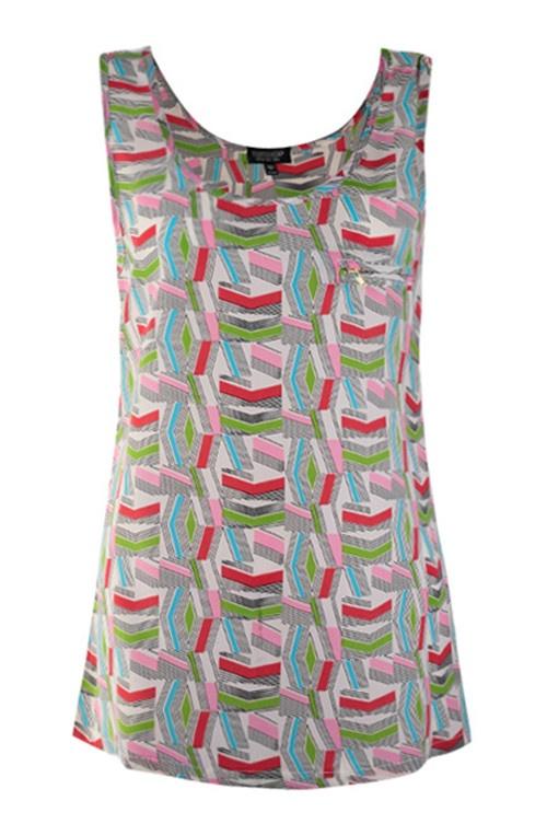 Red Zipper Embellished Wavy Print Tank Vest: Cat, Zipper Embellished, Print Tank, Shirt