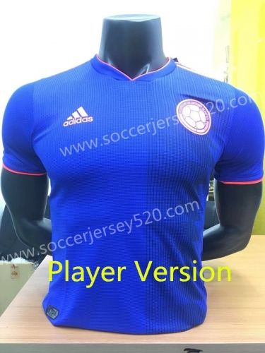 7bd99e172ec Player Version 2018 World Cup Colombia Away Blue Thailand Soccer Jersey AAA