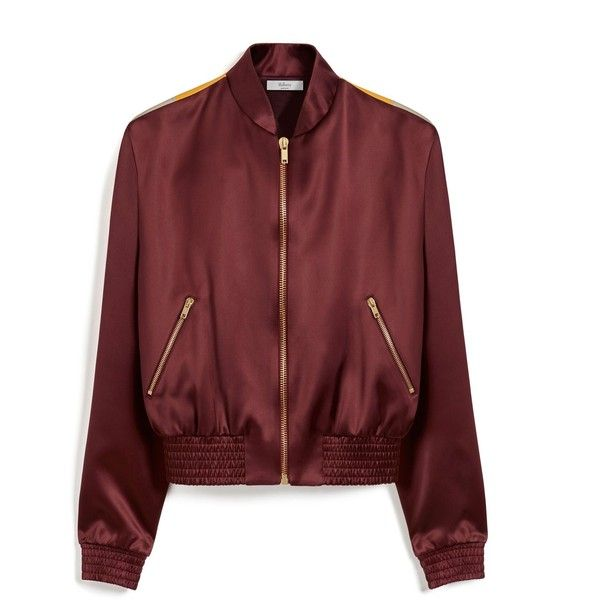 Mulberry Tammy Bomber Jacket (1.180 BRL) ❤ liked on Polyvore featuring outerwear, jackets, tops, casaco, crimson, vintage jackets, red bomber jacket, vintage sports jackets, sports jacket and red satin jacket