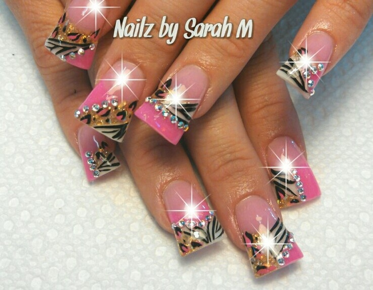 Pink and white flared nails