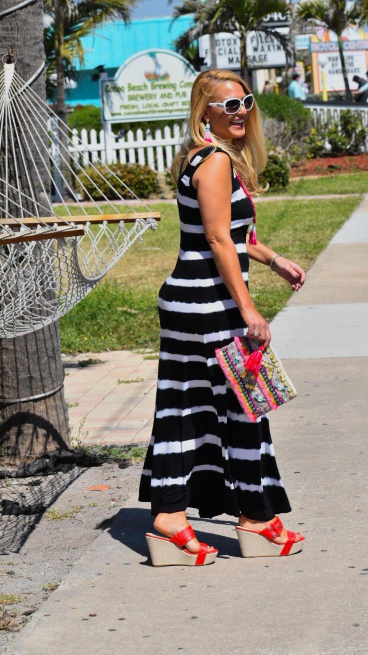 Street2BeachStyle – Black and White Striped Maxi Dress with Red Wedges in Cocoa Beach Florida - Black and White Striped Dress | Black and White Outfit | Street Fashion | Spring Style | Summer Style | Street Style | Spring Fashion | Maxi Dress | Summer Fashion | Stylish Outfits #street2beachstyle #streetstyle #streetfashion #blackandwhite #stripes #stripedoutfit #springfashion #summerfashion #springstyle #beachoutfit #maxidress #tasselearrings #davidyurman Instagram: Jenn Truman @jtstjtst11