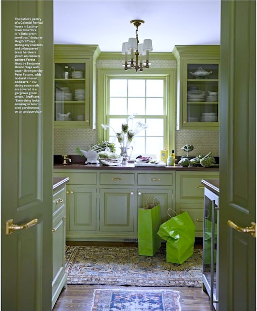 Meg Braff: Butler's Pantry in a colonial revival House.  Mahogany counter tops and unlacquered brass hardware. Cabinets painted Benjamin Moore's Forest Moss. Wallpaper is Peter  Fasano in Brompton/Sage. Featured in 3/2012 House Beautiful