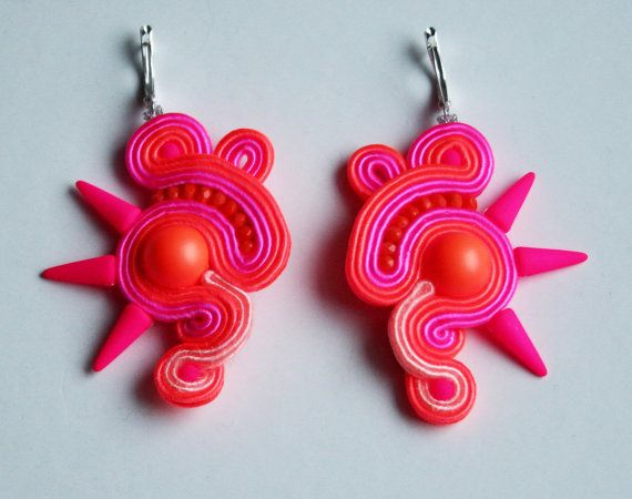 Bright neon pink and orange soutache earrings with spikes unique jewelry