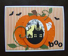 stampin up handmade halloween card haunted house ghost pumpkin - Handmade Halloween Cards Pinterest