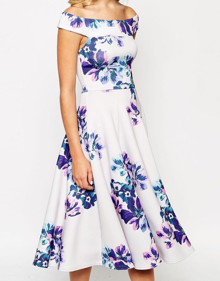 Image 3 - True Violet - Robe de bal de fin d'année style bardot mi-longue à imprimé floral
