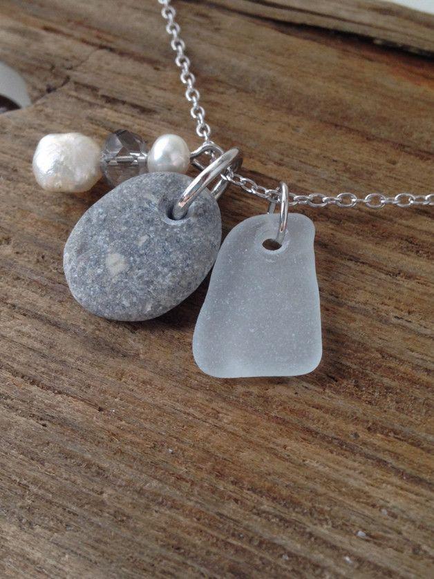 """Silberketten - 925 Silber Kette mit Meerglas - """"Kieselstein"""" - ein Designerstück von MeerSchmuck bei DaWanda"""