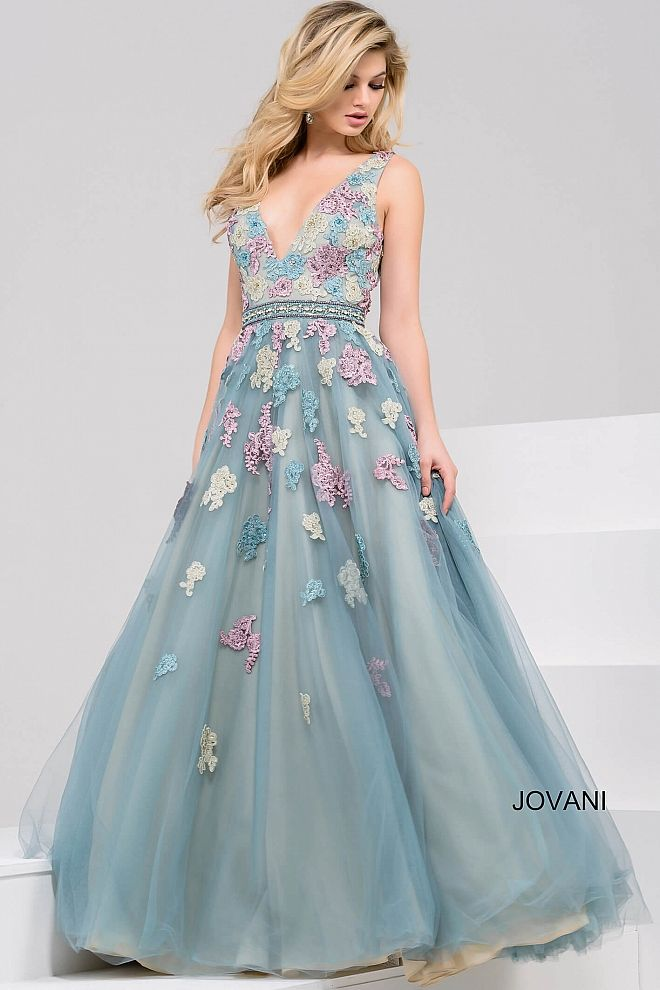 Beautiful floor length A-line mint evening gown with multi color floral embroidery features sleeveless bodice with v neckline and crystal embellished belt.