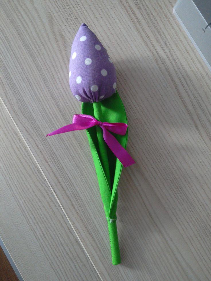 Fabric sewed tulip.
