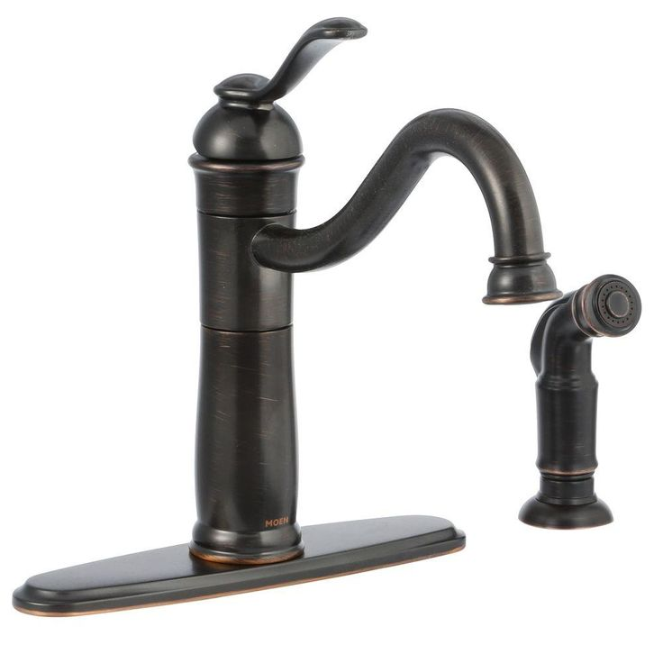 MOEN Walden Single-Handle Side Sprayer Kitchen Faucet featuring Microban Protection in Mediterranean Bronze-87427MBRB - The Home Depot