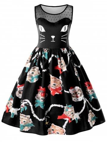 3fcd0c21ed2c Shop for ✿ 53% OFF ✿ 2018 Sleeveless Kitten Print Swing Dress in BLACK 2XL  online at $17.99 and discover other cheap Vintage Dresses at Rosegal.com  Mobile