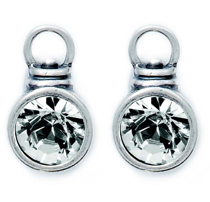 Swarovski Crystal Charm attachments set in burnished silver (E1000)