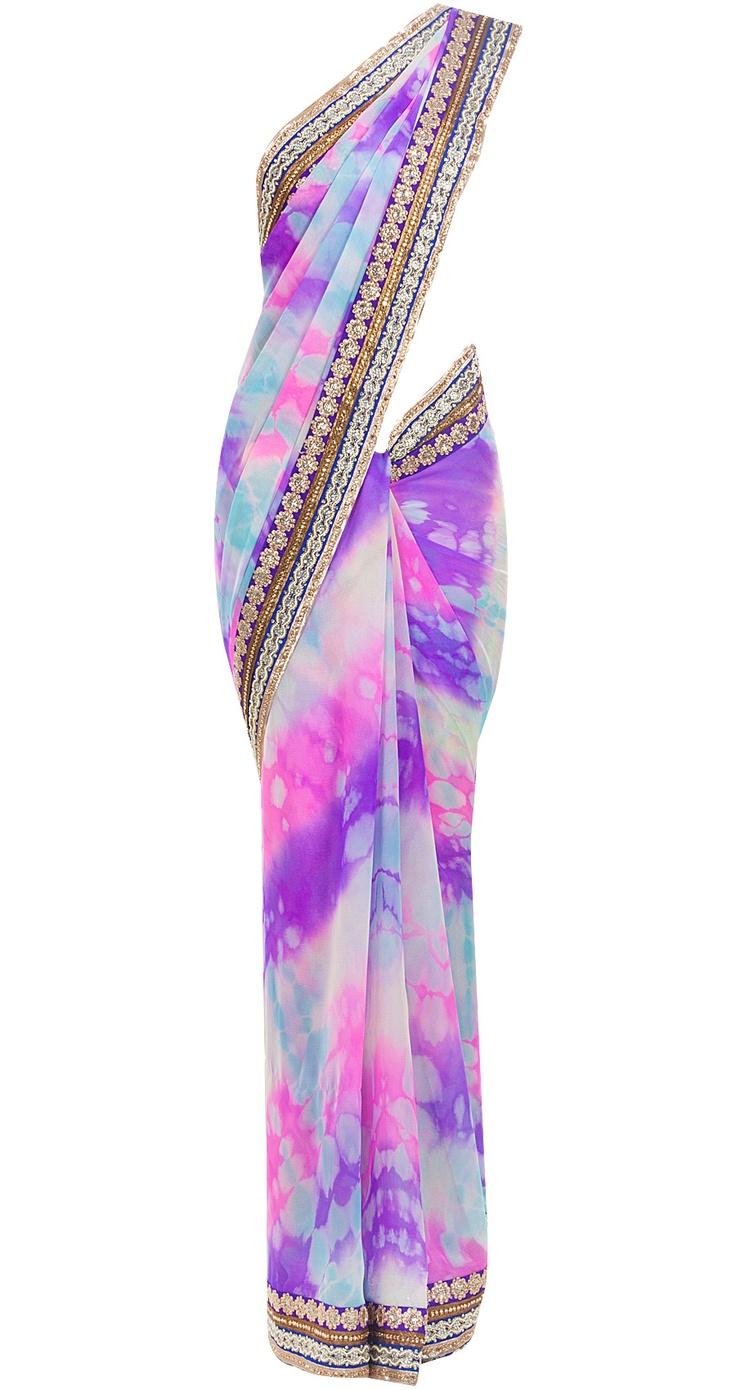 Pink & purple tie dye sari by SUNEET VERMA.
