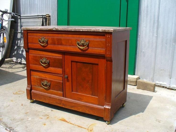 East lake style marble topped dresser bureau chest of for Meuble bureau kijiji montreal