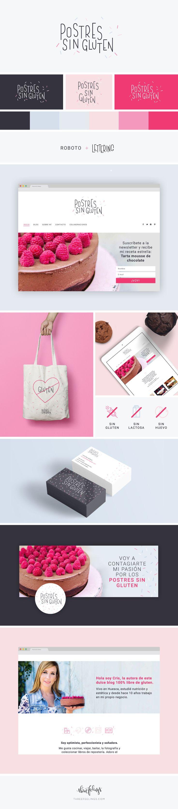 Diseño de la identidad de Postres Sin Gluten. Creación de tarjetas corporativas y totebag. Instalación y adaptación de la plantilla Minimal Feelings.  Lauren B Montana