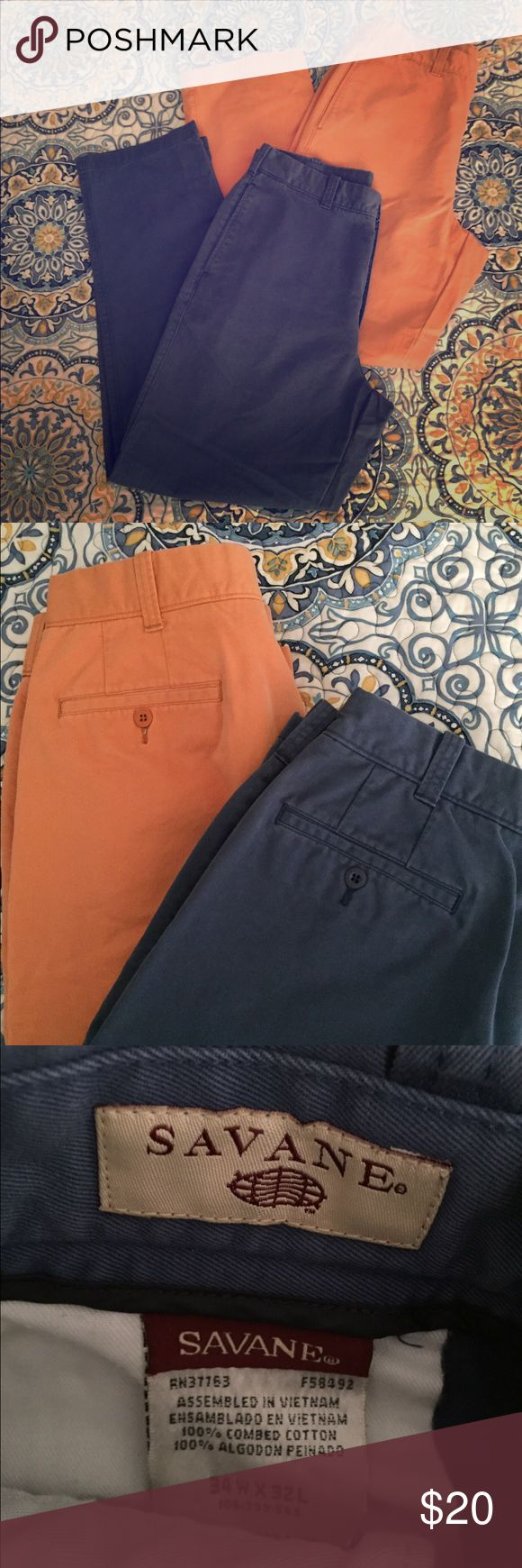2 pair pants 👖 Savane men's flat front pants. EUC Savane Pants Chinos & Khakis