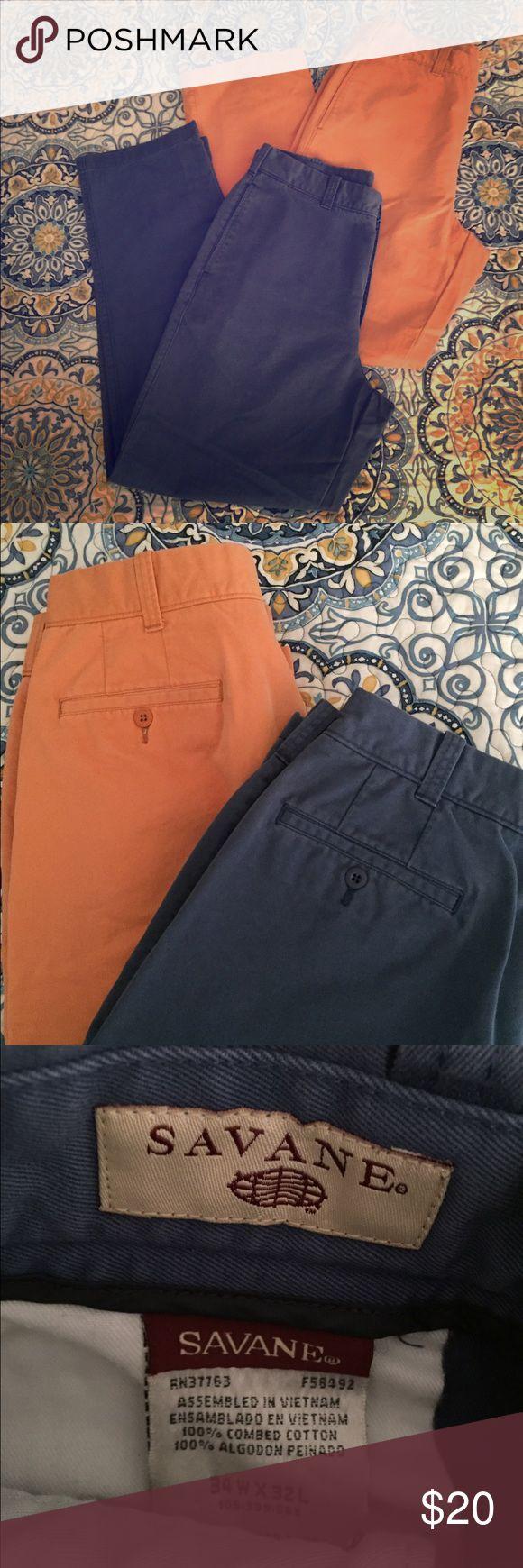 2 pair pants 👖 Savane men's flat front pants. EUC Savane Pants Chinos & Khakis