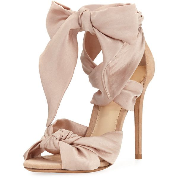 Alexandre Birman Katherine Knotted Satin & Suede Sandal ($645) ❤ liked on Polyvore featuring shoes, sandals, nude, shoes sandals, d orsay sandals, satin sandals, dorsay sandal, ribbon sandals and d orsay shoes