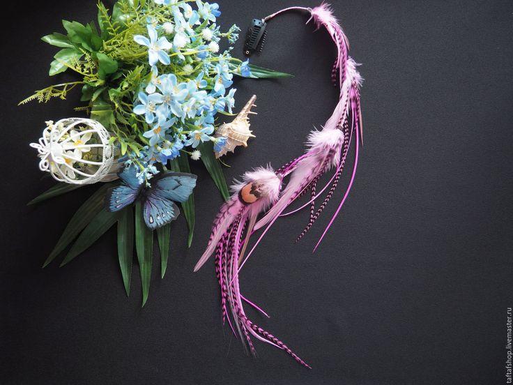 Танец фламинго - розовые перья для волос на съемной заколке бохо - полосатый, перо, перья
