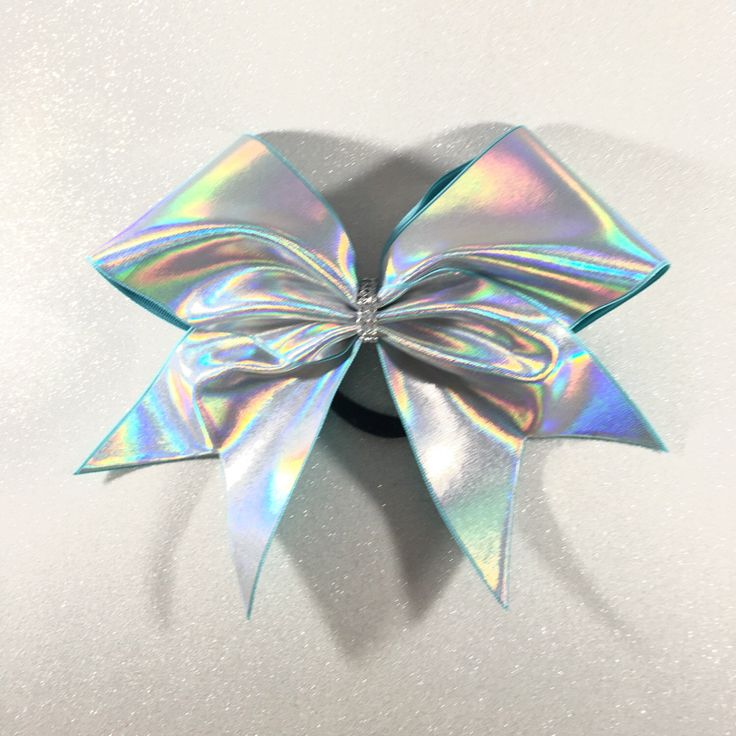 Holographic Silver Cheer Bow // Holo Cheer Bow // Plain Cheer Bows // Bling Cheer Bows // Cheerbows // Team Cheer Bows // Softball Bows by BlingBowLove on Etsy https://www.etsy.com/listing/293692607/holographic-silver-cheer-bow-holo-cheer