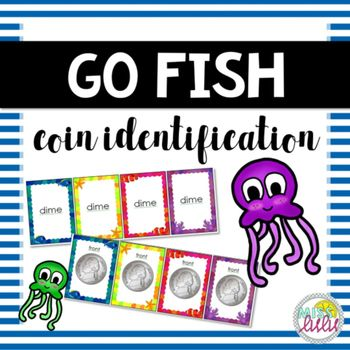 What a fun way to reinforce money skills! A Go Fish game that focus on coin identification and value. Make a set by matching all 4 of either the value cards, coin name cards, front of coin cards, or back of coin cards.