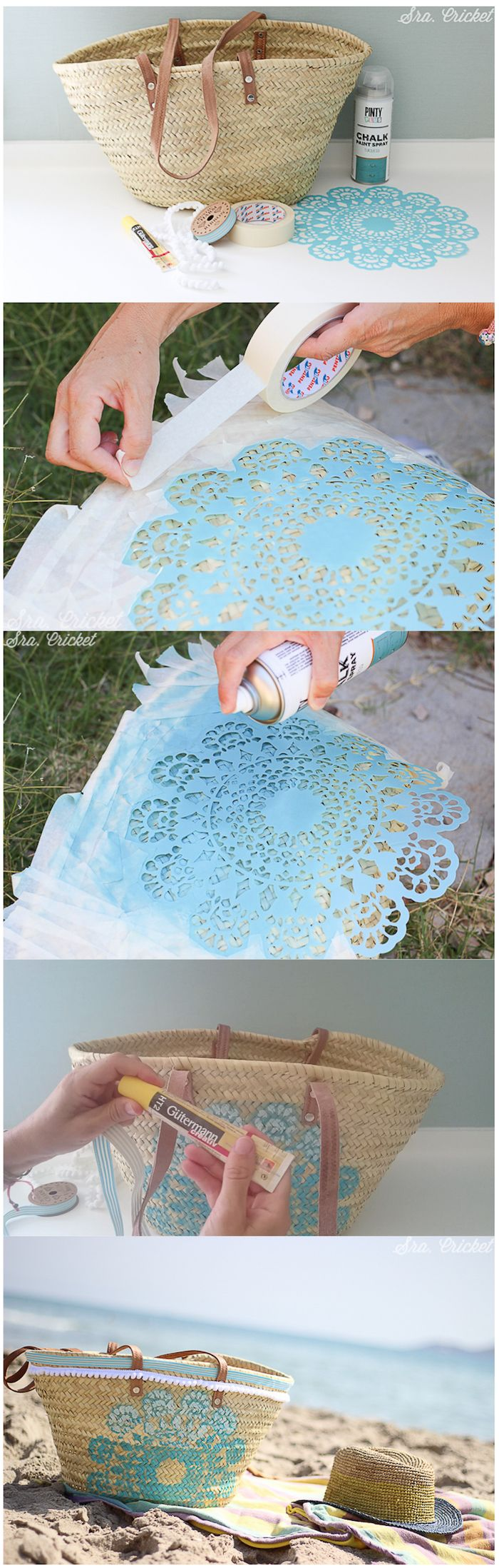 Lace Doily stencil for painting basket handbag tote. tutorial para personalizar capazo #DIY #cesto #basket