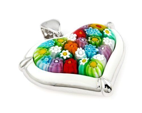 Millacreli Multi Color And White Heart Pendant Millacreli. $77.15. Handmade (patterns and colors may slightly vary). Authentic Murano Glass from Italy. Approximate Width: 40 MM (1.56 INCHES). Approximate Length: 43 MM (1.68 INCHES). Designer Jewelry by Alan K.