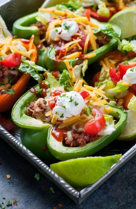 Taco salad stuffed green peppers