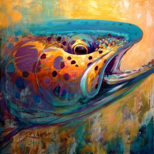 """Savlen Studios - Rainbow Trout Original Painting - """"Fire From Water""""  , $10,500.00 - Contact us at 603.456.6091 to purchase directly from the artist  (http://www.savlenstudios.com/rainbow-trout-original-painting-fire-from-water/)"""