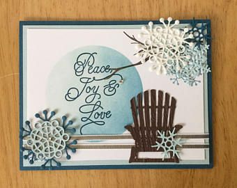Stampin Up handmade Christmas card - Peace Joy and love with snowflake and chair