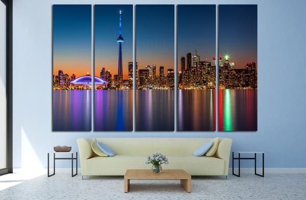Chraming Toronto Skyline at Night - Canvas Print From $59.99