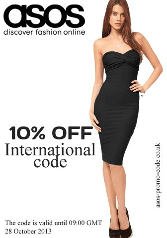 New international 10% OFF code for ASOS: 10XTRA. Valid until: 28 October 2013. More codes here: http://asos-promo-code.co.uk/october-2013/