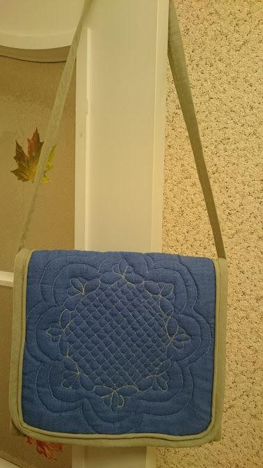 сумка, ткань - лен, художественная стежка