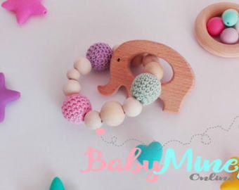Wooden Teether Toy  Silicone teether toy  chew by BabyMineStore