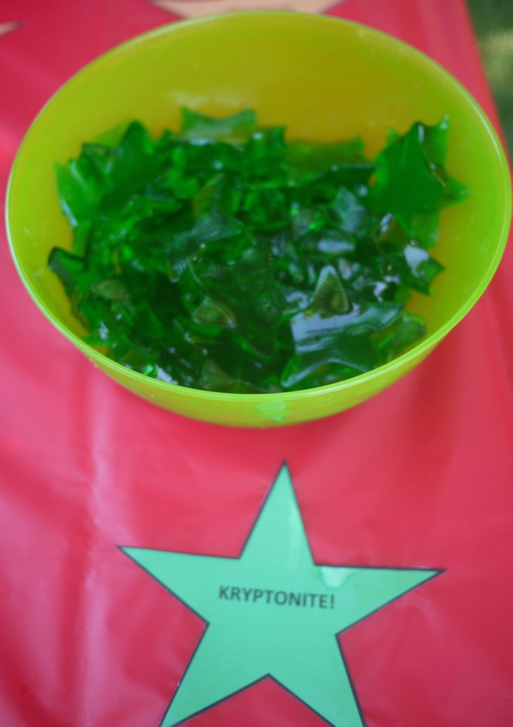 "Food Ideas: Star-shaped green jello for ""Kryptonite ..."