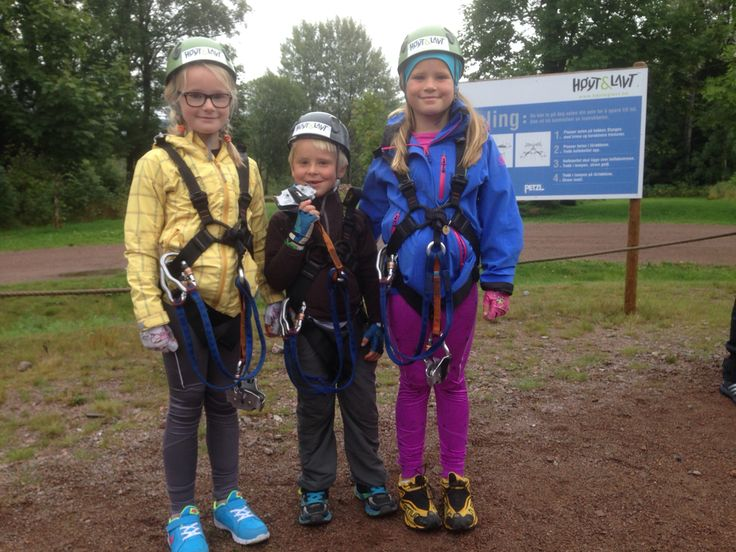 "Happy and contented cousins at the ""High & Low"" climbing and family park near Svarstad, Laagendalen"
