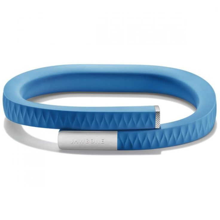 Jawbone bracelet in blue, size L. It tracks your movement and displays the data on your Android or iOS phone. http://www.zocko.com/z/JFziH