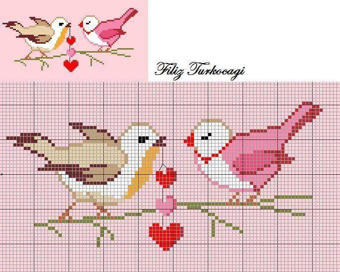 lo spazio di lilla: Uccellini a punto croce, schemi / Cross stitch birds free patterns