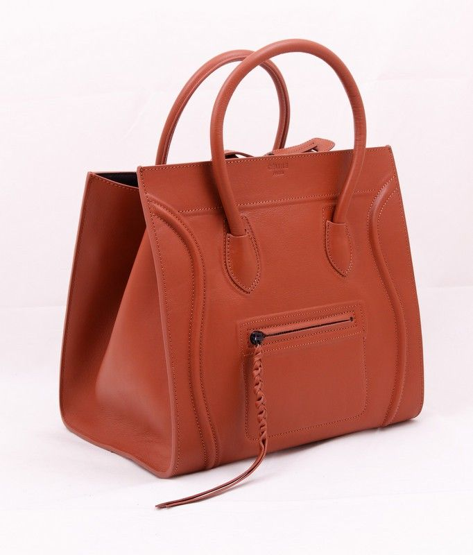 Сумка CELINE (Селин) Luggage bag из натуральной кожи коричневая