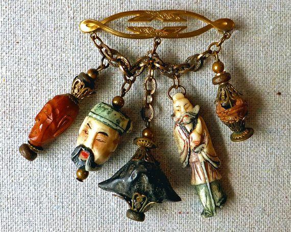 Vintage Miriam Haskell Brooch, Beautiful Feminine Chinese Charm Brooch,  Cinnabar,  Brass,  Hollywood Jewelry