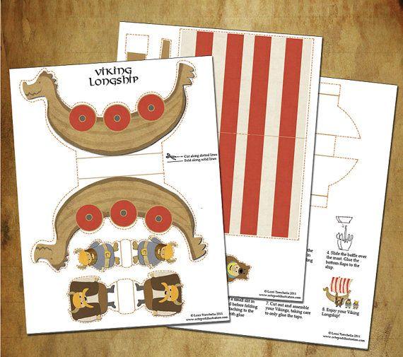 Viking Dragon Longship Printable Paper Toy   Viking Party!!